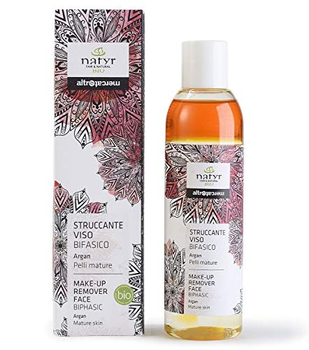 BIO Anti-Aging 2-phase makeup remover for eyes and face ✔ With argan oil, prickly pear, aloe vera for mature skin ✔ Natyr - Fair Trade natural cosmetics from Italy ✔ 200ml