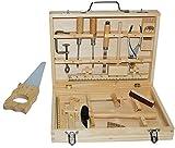 Unbekannt 16 TLG. Set -  Werkzeugkoffer - aus Metall & Holz  - groß komplett gefüllt - Box KISTE für Spielzeug - Kinderwerkzeugkiste - z.B. Sägearbeiten / Sägeblatt -..