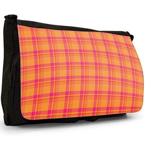 Fancy A Snuggle, Borsa a spalla donna Large Orange & Pink Tartan