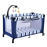Goplus Kinderreisebett Spielstall Babybett Laufstall Klappbett mit Wickeltisch und Mobile Farbwahl (Dunkelblau)