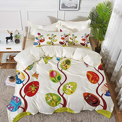 Yaoni Bettwäsche-Set, Mikrofaser, Magische, magische Äste mit verschiedenen Blättern, gefüllt mit Menschen- und Katzengesicht,1 Bettbezug 240 x 260cm + 2 Kopfkissenbezug 80x80cm (Das Blatt Menschen, Bettwäsche)