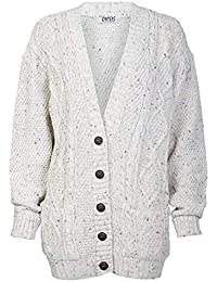 a9abb76ca6d09 Red Olives New Women s Ladies Long Sleeve Button Top Chunky Aran Cable  Knitted Grandad Cardigan UK