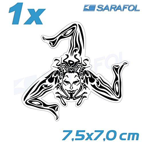 1x Trinacria Sizilien Aufkleber (Nr.064) Transparent Schwarz 7,5x7,0 cm Adesivo Sicilia Sticker Sicily