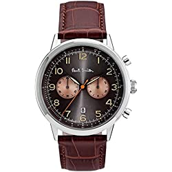 Paul Smith Men's Quartz Watch with Black Dial Chronograph Display and Brown Leather Strap P10013