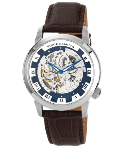 Vince Camuto  VC/1007BLSV - Reloj de automático para hombre, con correa de cuero, color marrón