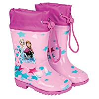 PERLETTI Disney Frozen Rain Boots for Kids - Waterproof Wellies with Anti Slip Outsole - Colored Wellington for Girls with Anna & Elsa - Pink