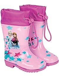 Botas de Agua Disney Frozen - Botines Impermeables para Niña con Suela Antideslizante y Cierre con cordón - Estampado Anna y Elsa - Rosa - Perletti
