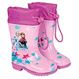 Kinder Mädchen Regenstiefel - Wasserdichte Stiefel mit Rutschfeste Sohle und Kordelzug - Mit Anna und ELSA aus Disney Frozen - Pink (22/23 EU)