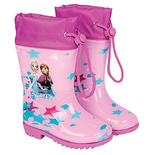 Perletti Kinder Mädchen Regenstiefel - Wasserdichte Stiefel mit Rutschfeste Sohle und Kordelzug - mit Anna und Elsa Aus Disney Frozen - Pink Cool Kids (28/29 EU)