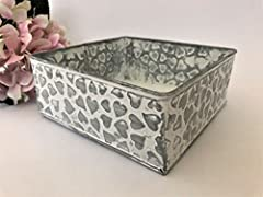 Idea Regalo - Homes on Trend Vassoio della scatola della piantatrice dei cuori/vaso di fiore della pianta/contenitore delle lampadine/decorazione centrotavola della Tabella di nozze di stile misero dell'annata