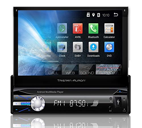 Tristan Auron BT1D7021A Autoradio mit Android 8.1, 7\'\' Touchscreen Bildschirm, GPS Navigation, Bluetooth Freisprecheinrichtung, Quad Core Prozessor, Mirrorlink, USB, SD, OBD 2, DAB+ I 1 DIN