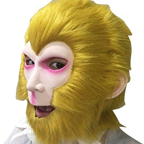 Nihiug Halloween-Reise Zum Westen Sun Wukong Masken-Kappe Affe-König-erwachsene Kappe Hässliche Maske Halloween-Party-Kostüm Für (Monkey King Halloween Kostüm)