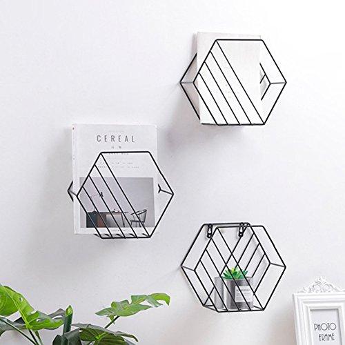 Heresell filo esagonale ripiano griglia portaoggetti da parete, motivo geometrico decorativo portariviste da parete per soggiorno camera da letto nero