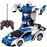 Yeahlvy 2-in-1 RC Fernbedienung Auto Drive Transformation Roboter Modelle Fernbedienung Auto mit Licht (Blue White)