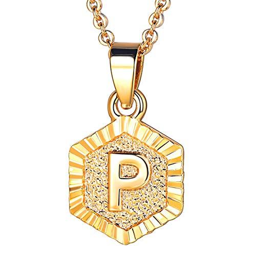en Collier Buchstabe P Anhänger 18k vergoldet mit 55cm Rolokette Anfangsbuchstabe Hexagon Tag trendig Halskette für Frauen Mädchen ()