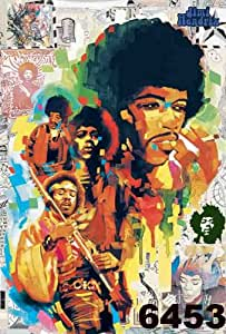 O-6453 Jimi Hendrix Blues Rock Music Collections,decorative Poster Print Vintage New Size: 24 X 35 Inch.