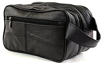 Men's Leather Toiletries / Travel / Holiday / Over Night / Weekend Wash Bag (Black or Brown)