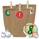 Papierdrachen 24 Adventskalender Tüten mit 24 Aufkleber Zahlen und Klammern - zum selber Basteln - DIY Set Adventskalender zum Befüllen - Design Nr 5