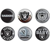 Oakland Raiders Offizielle NFL Button, Anstecker, Pins als 6er Set