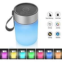 HogarTech LED Stimmungslicht Touch Sensor Dimmbar Atmosphre Lampe Fr Schlafzimmer RGB Farbwechsel Nachttischlampe Wohnzimmer Camping