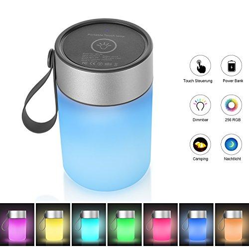 HogarTech LED Stimmungslicht Touch Sensor Dimmbar Atmosphäre Lampe für Schlafzimmer RGB Farbwechsel Nachttischlampe für Wohnzimmer Camping, IP65 Wasserdicht, Mit Aufladbarer Batterie, Warmweiß