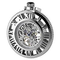 KS Retro Silver Mechanical Pocket Watch Steampunk Skeleton Visible Movement Hand Wind Watches KSP068