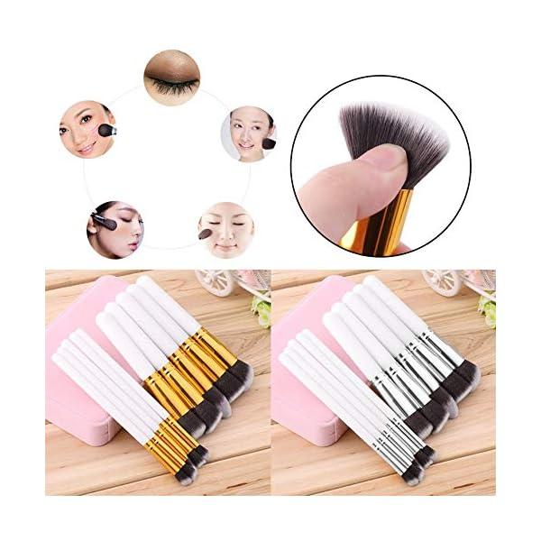 RoadRoma 10 Piezas de Maquillaje Profesional Cosméticos Blush Cejas en Polvo Pinceles Set (Blanco y Plata) 5