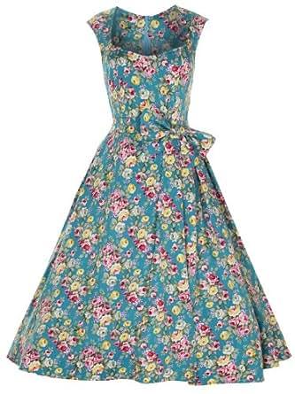 Lindy Bop 'Grace' Vintage 1950's Floral Print Swing Dress (16, Turquoise)