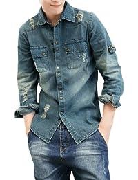 Hommes Manches Longues fermeture à pression Destroy Détail Chemise En Jeans