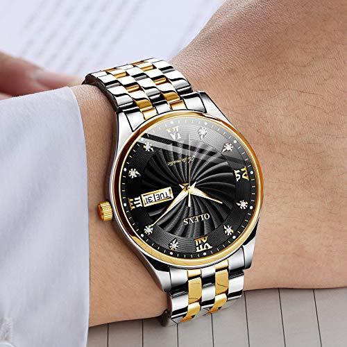hanische Uhr, wasserdichte leuchtende mechanische Uhr-Doppelkalender-Uhr der Art- und Weisestahlmänner,D ()