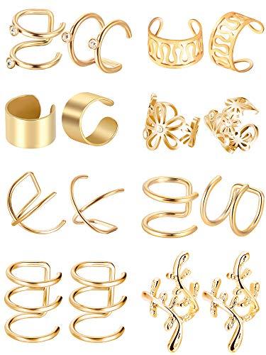 Blulu 8 Paar Edelstahl Ohr Manschette Nicht Piercing Clip auf Knorpel Ohrringe für Männer Damen, 8 (Gold)