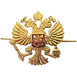 Russian Army Military Imperial Eagle Crest Cossack Trapper Ushanka Hat Cap Beret Metal Pin Badge Kokarda by Ganwear®