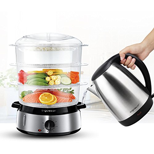 51ZVaoxza8L. SS500  - Aigostar Fitfoodie 30KHM - Electric Food Steamer, 800W, 3-Tier 9 L Capacity, 60-Minute Timer, Brushed Stainless Steel, Stackable Baskets, BPA Free, Exclusively Design.