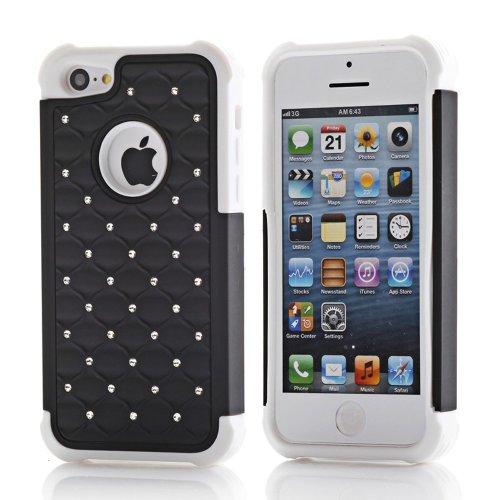 meaci (TM) Étui hybride pour iPhone 5C Motif Combo Glitter/bling diamant double couche Pc et coque de protection en silicone (Noir/Blanc) en silicone