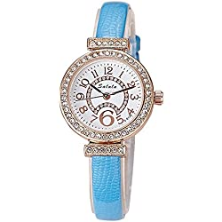 Fashion Rhinestones PU Strap Quartz Women Wrist Watch,Blue