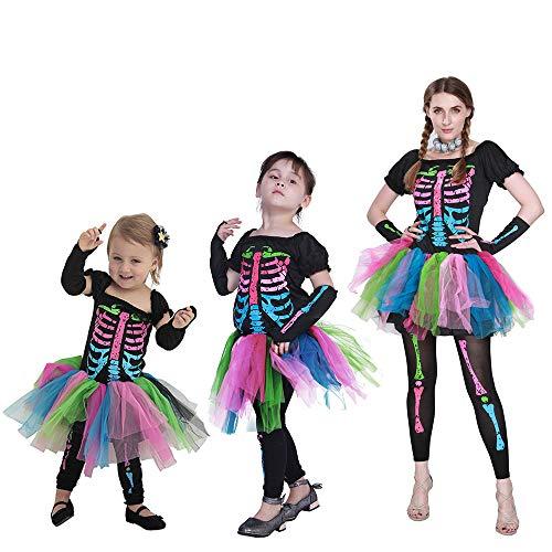 Mutter und Tochter Halloween Kostüm 3er Pack, Baby Mädchen Kleid + Strumpfhose + Armstulpen Familien-Matching Outfit, 9-12 Monate (3 Wünsche Halloween Kostüme)