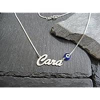 Personalisierte Namenskette in 925er Silber mit Glücksauge, dunkelblau, (NK36-db)