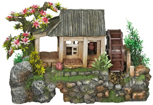 Nobby 28375 Aquarien-deko Aqua Ornaments Haus mit Wasserrad mit Pflanzen, L35 x B18.5 x H21 cm Zimmerbrunnen Mit Pflanze