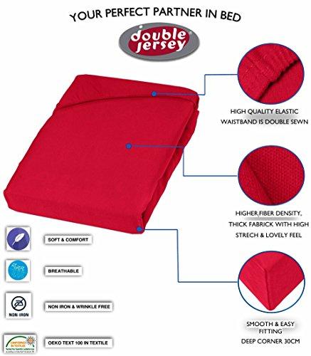 Double Jersey - Spannbettlaken 100% Baumwolle Jersey-Stretch bettlaken, Ultra Weich und Bügelfrei mit bis zu 30cm Stehghöhe, 160x200x30 Rot - 3