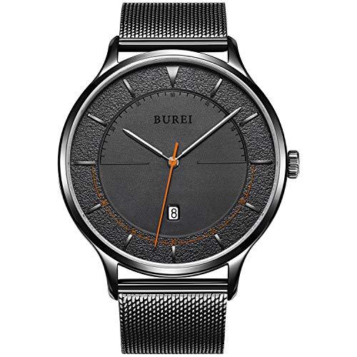 BUREI Minimalistische Saphir Ultra Dünn Herren Armbanduhr Stylisch Datum Schwarz Armbanduhr für Herren mit Mesh Edelstahlband Großes Gesicht (Farbe änderung Saphir)