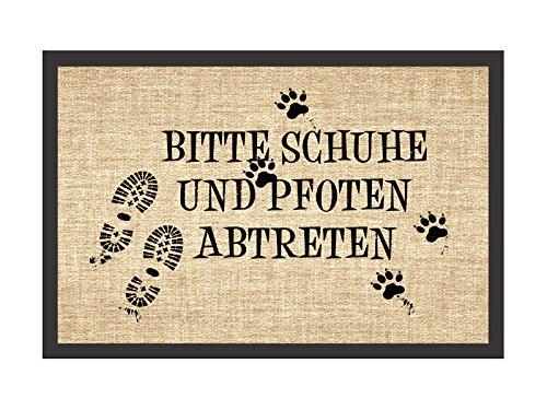 Retro Fußmatte Türmatte BITTE SCHUHE UND PFOTEN ABTRETEN Hund Hundematte Abstreifer