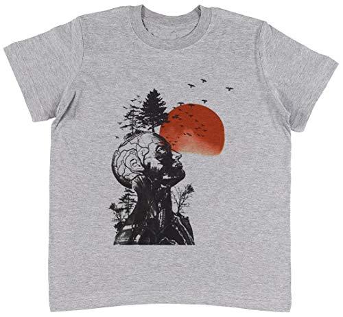 Jergley Alans Kater Grau T-Shirt Jungen Mädchen Größe S | Unisex Kids Grey T-Shirt Size ()