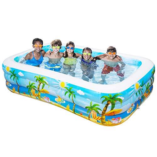 iBaseToy Riesiger aufblasbarer Pool, Aufblasbarer Pool für Erwachsene für Sommerfest, Rechteckiger Familien-Swimmingpool für Kinder, 260x150x56cm, für Alter 3+