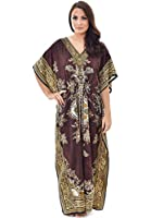 Womens Long Cool Kaftans Printed Dress With Waist Tie