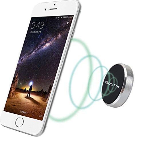 Kühlschrank Magnetic Regal (MOUTIK®Universal Mobile Magnet Auto Handyhalterung Runde Flache Magnetische Armaturenbrett Smartphone Halterung für iPhone 7 6S, für Samsung Galaxy S8 S7 die maximale Größe 4.7 Zoll Silber)