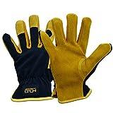 General Utility lavoro sicurezza guanti con palmo in pelle di vacchetta, destrezza traspirante design, Nero