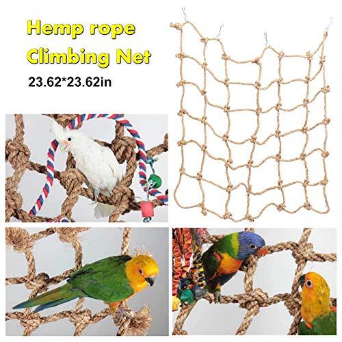 Comtervi Spielzeug für Wellensittich und Nymphensittich Vogel Kletter Spielplatz aus Nylon Vogelspielplatz Hängebrücke Vogelkäfig Zubehör 60 * 60cm