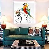 TTKX@ Wohnkultur Wandkunst Hand Bemalt Abstrakten Cartoon Ölgemälde auf Leinwand Große Handgemachte Messer Papagei Fahrrad Malerei Bilder,70X70Cm