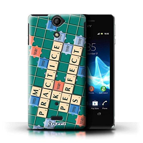 Kobalt® Imprimé Etui / Coque pour Sony Xperia V/LT25i / Ennemis Proximité conception / Série Mots de Scrabble Pratique Parfaite
