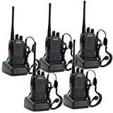 Baofeng 888S - Walkie-Talkie (UHF 400-470 MHz, 16 canales, 105 CDCSS), color negro - Paquete de 5
